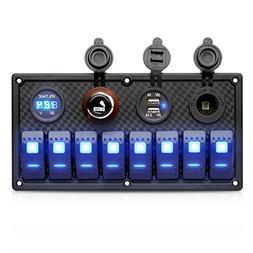 Excelvan Digital 12V/24V Switch Panel Waterproof Dual USB Ch