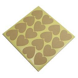 500 Pieces 3.53.6cm  Blank Kraft Heart Design Sticker Label