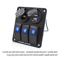 3 Gang Marine Rocker Switch Panel - 3 Pin Waterproof Alumini