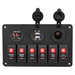 WATERWICH 6 Gang Marine Toggle Rocker Switch Panel waterproo