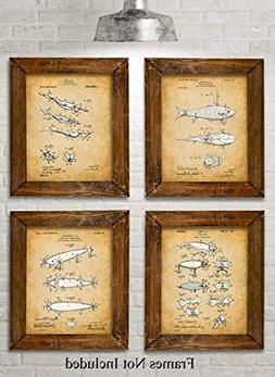 Original Fishing Lures Patent Art Prints - Set of Four Photo