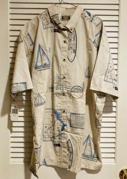 Global Tracking GPS Hawaiian Shirt Mens Size XL Fishing Naut