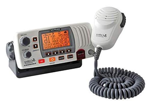 Cobra F77W Marine Radio, Submersible Long Range Fixed Class-D DSC with GPS and NOAA Rewind Say-Again, Illuminated Display, White