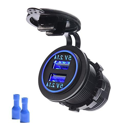 Mictuning Dual Usb Car Charger 4 2a With Blue