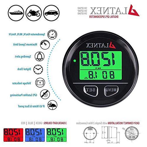 gps speedometer odometer waterproof with green red