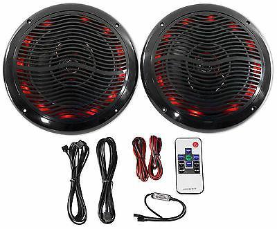 "Rockville RMC65LB 6.5"" 600w 2-Way Black Marine Speakers w/Mu"