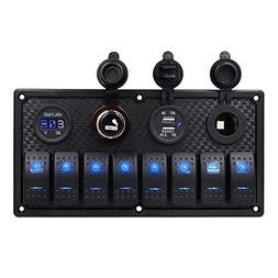 Marine Boat Rocker Switch Panel 8 Gang Waterproof Toggle Swi