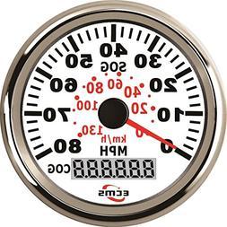 Marine Car GPS Speedometer LCD Gauge 0-80MPH 9-32V 85mm Chro