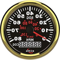 Marine Car GPS Speedometer LCD Gauge 0-80MPH 9-32V 85mm Gold