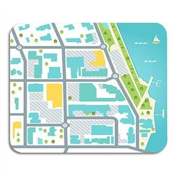 Boszina Mouse Pads Bay Abstract Abstarct Map of Coastal Town