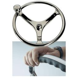 "Edson 14.5"" SS Comfort Grip Steering Wheel w/PowerKnob and N"