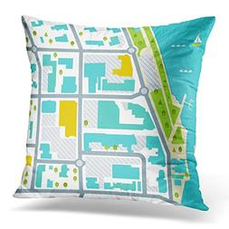 Duplins Throw Pillow Cover Bay Abstract Abstarct Map of Coas