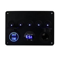 FXC Toggle Switch Panel   Dual USB Socket Charger 2.1A&2.1A