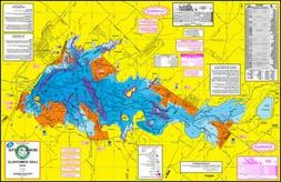 Topographical Fishing Map of Lake Somerville - With GPS Hots