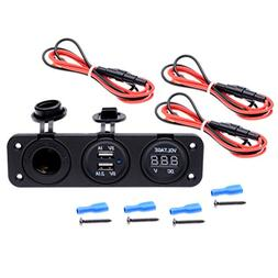 Astra Depot Triple Function Dual USB Charger + Voltmeter + 1