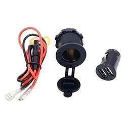 JahyShow Waterproof 12V 3.1A 1A 2.1A Dual 2 USB Port Power O