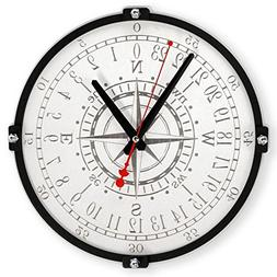 Wind Rose white compass HANDCRAFTED 24 hours wooden wall clo